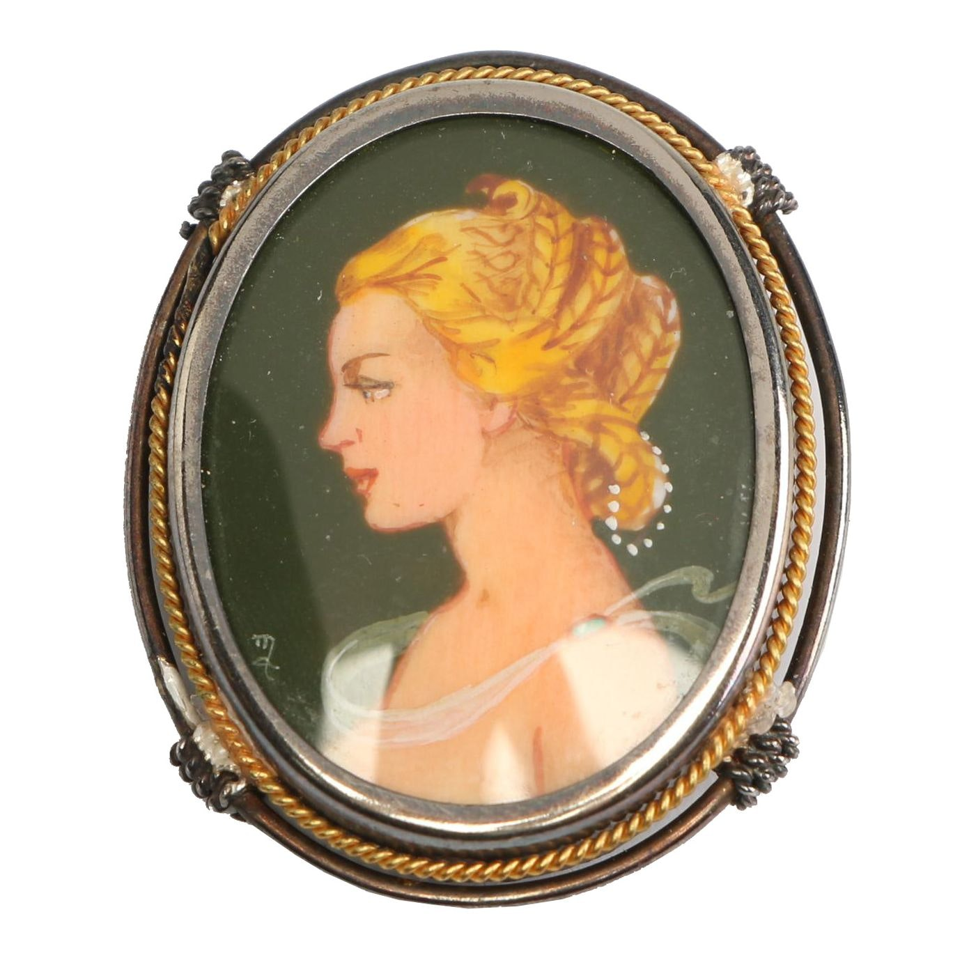 Vintage Painted Cameo Converter Brooch or Pendant