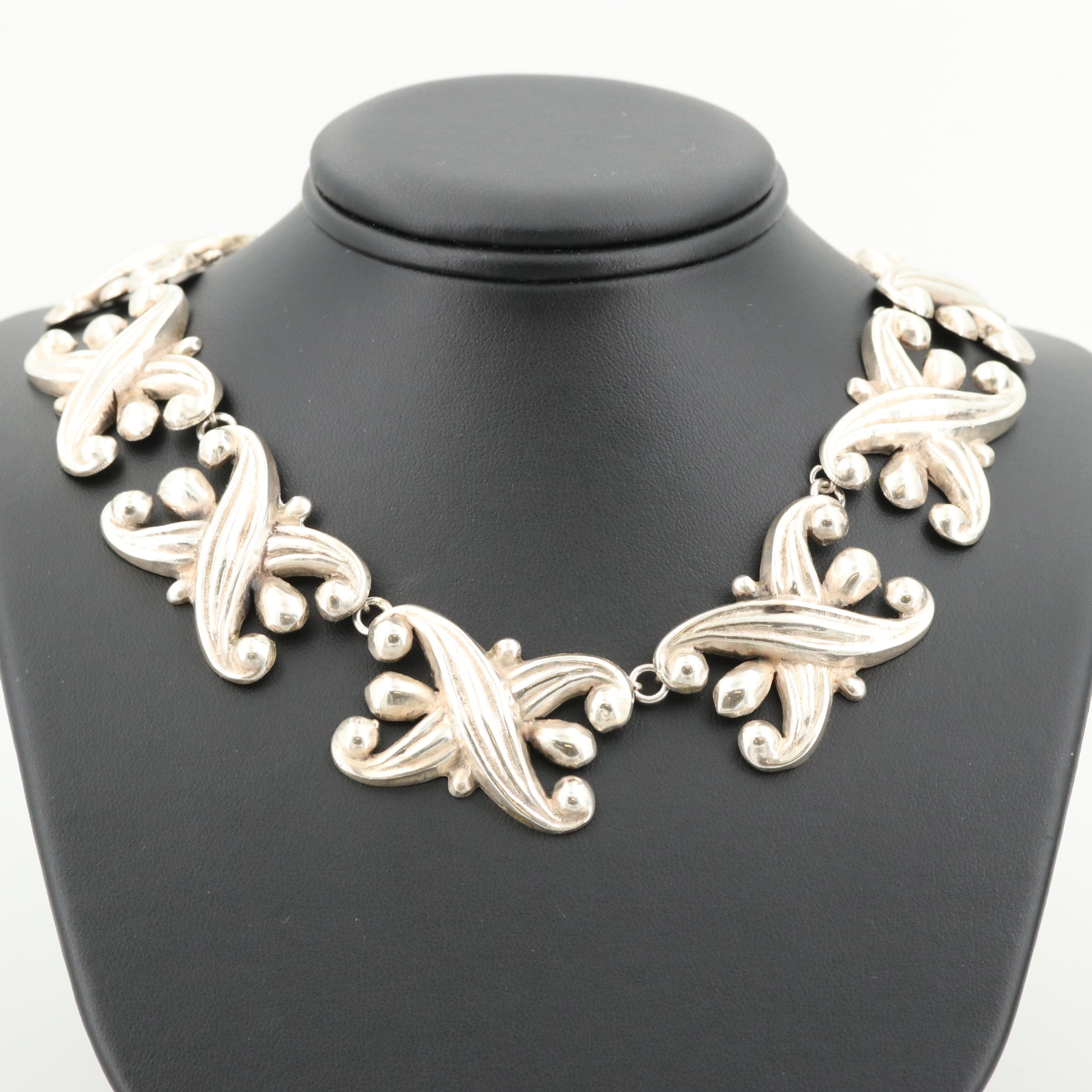 Circa 1930 Mexican Sterling Silver Linked Necklace