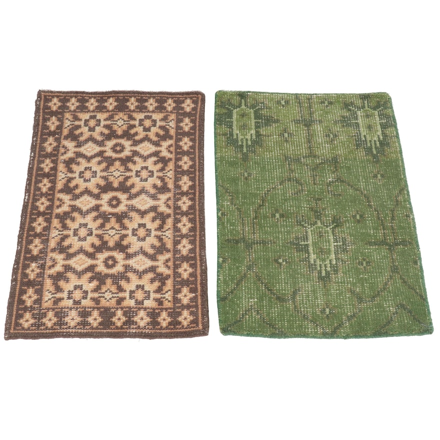 Handwoven Indian Wool Accent Rugs Including Overdyed