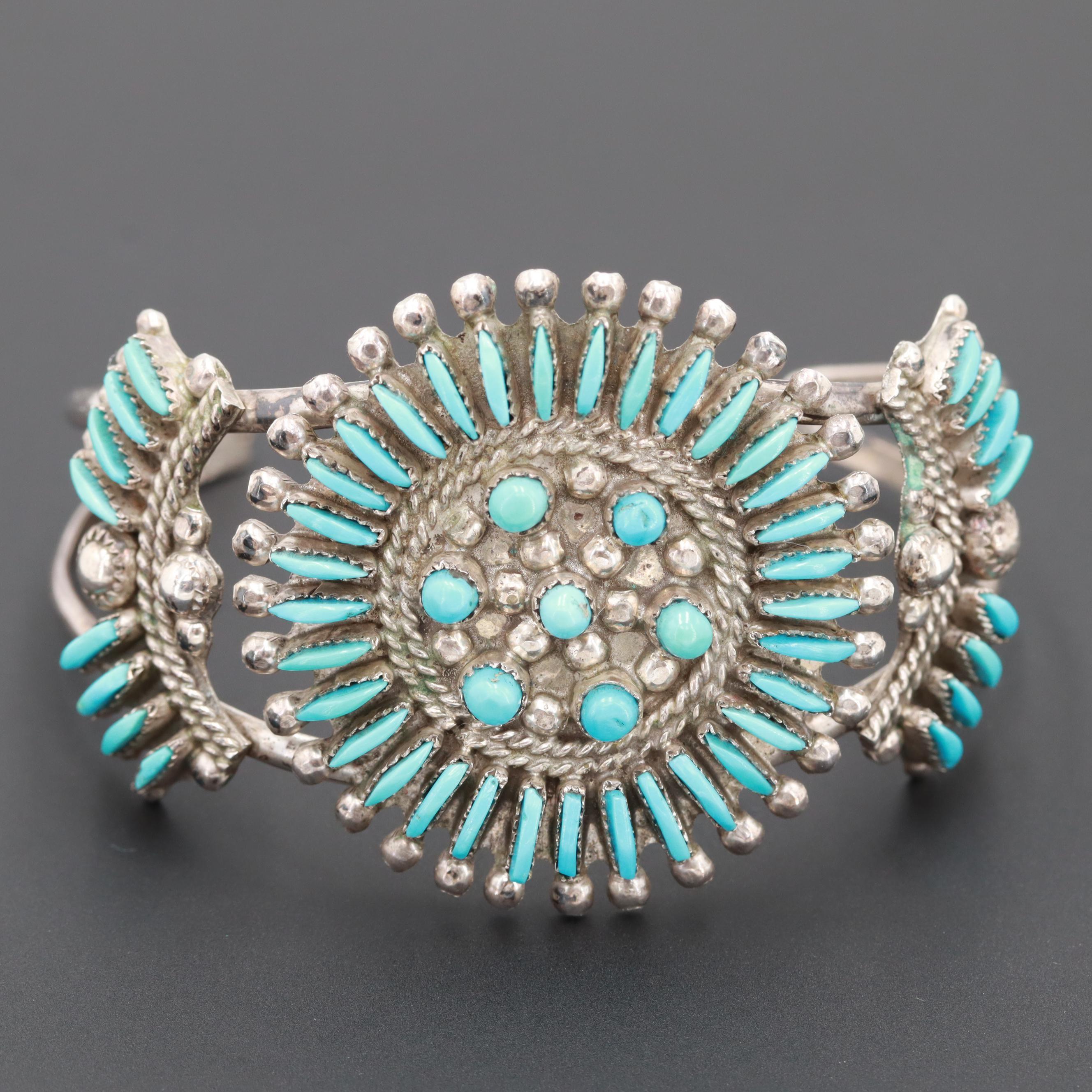 Southwestern Style 900 Silver Turquoise Cuff Bracelet