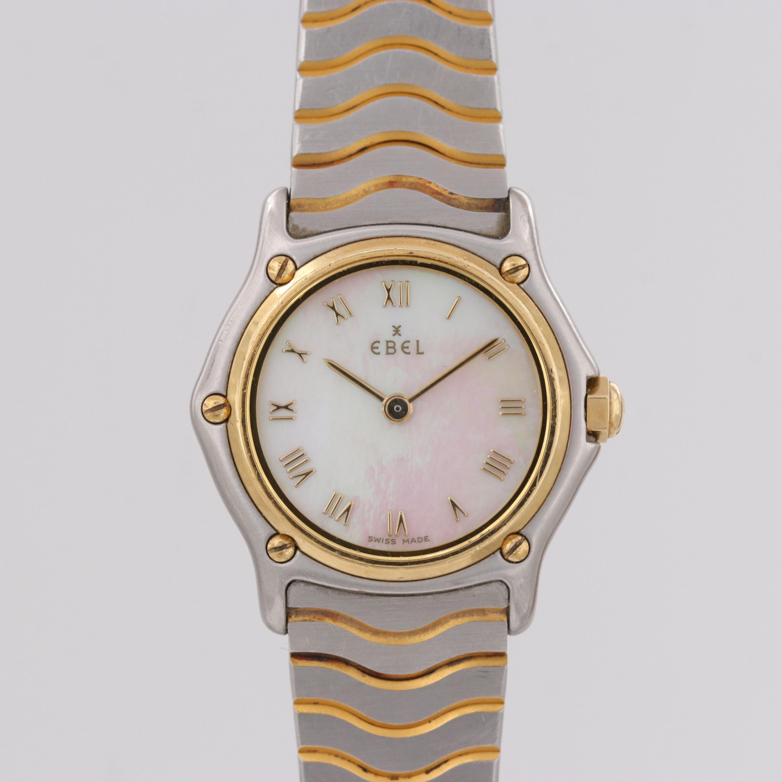 """Ebel """"Classic Wave Mini"""" 18K Yellow Gold and Stainless Steel Wristwatch"""