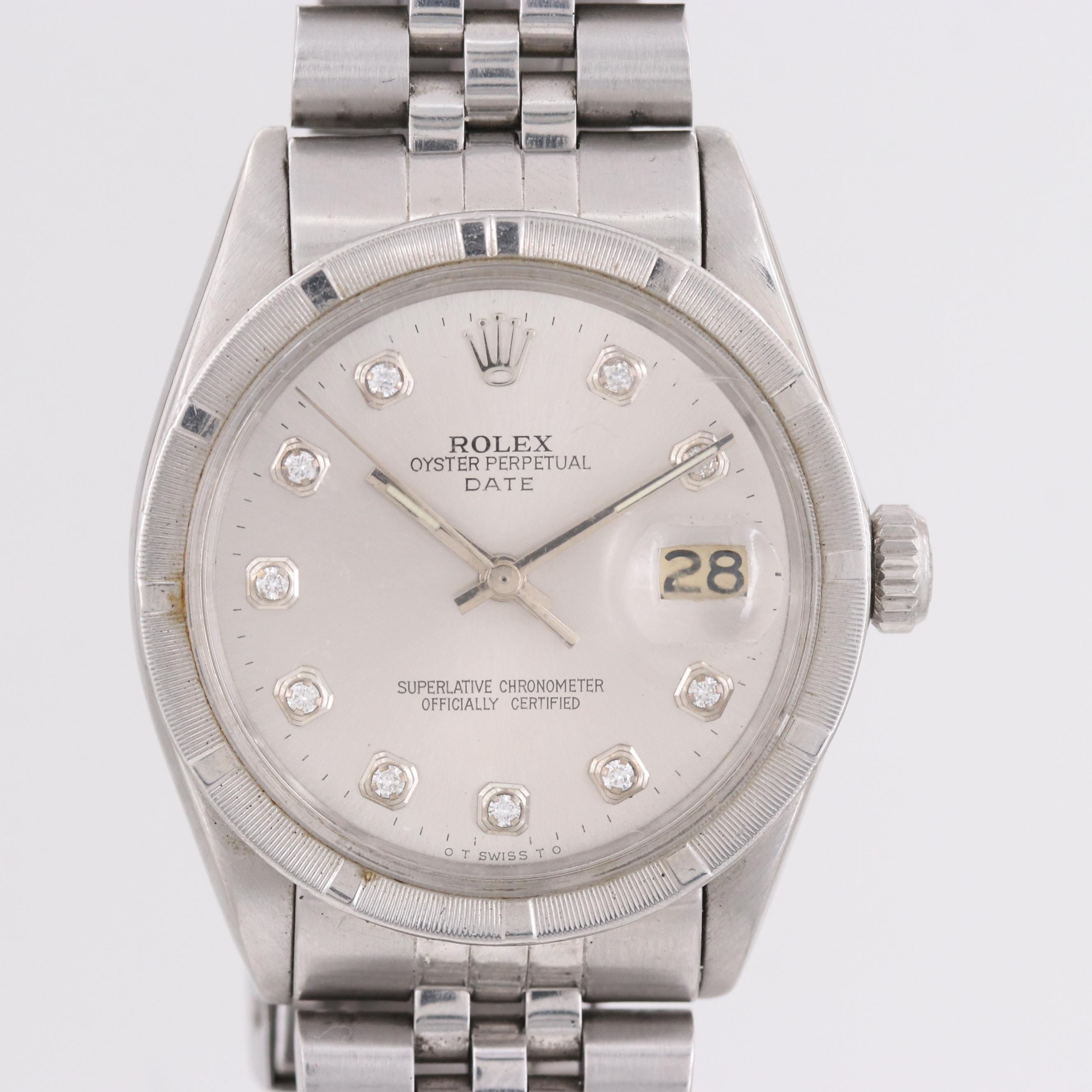 Rolex Stainless Steel Oyster-Perpetual Date Wristwatch With Diamond Dial, 1972
