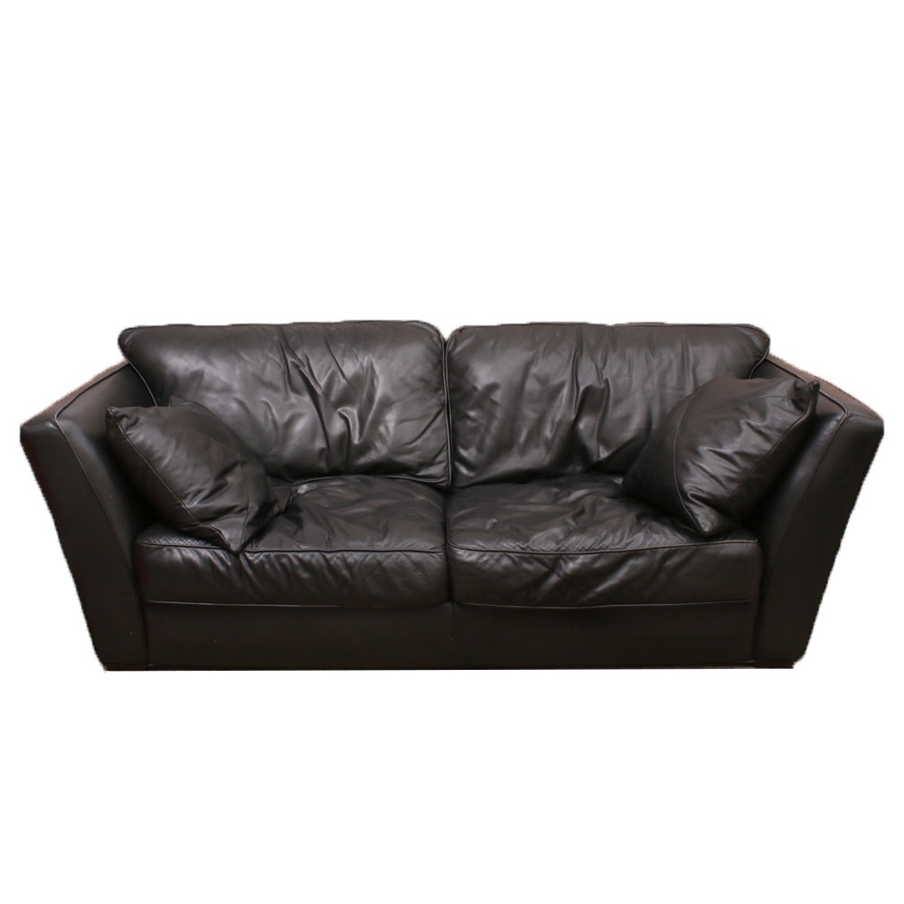 Studio Mascheroni Black Leather Loveseat with Accent Pillows