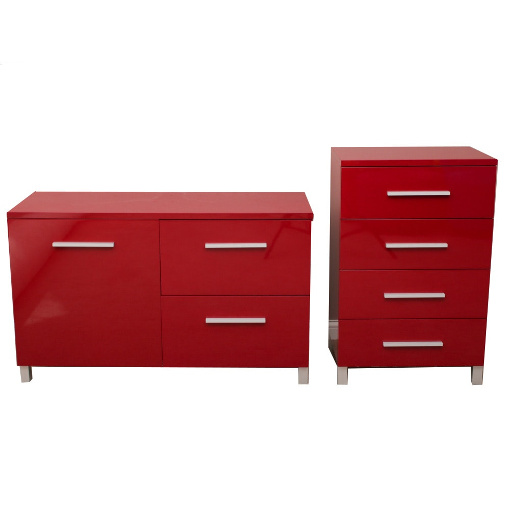 Contemporary Red Laminate Chest of Drawers and Side Cabinet