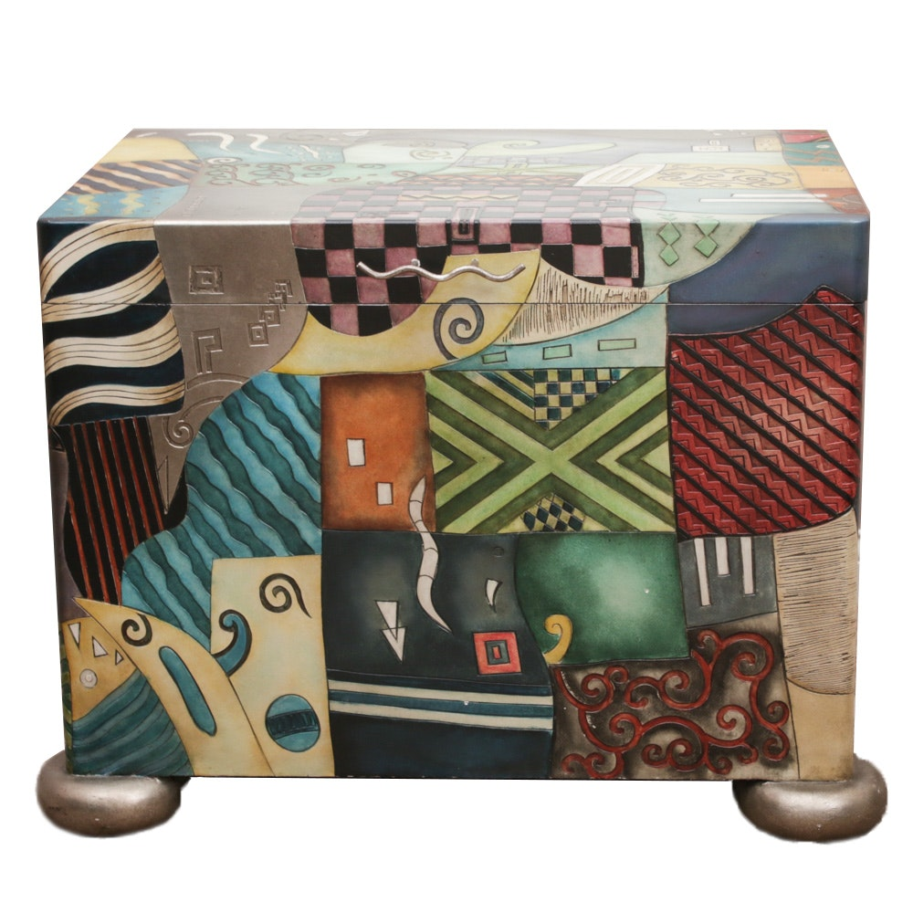 Contemporary Painted Wood and Composite Blanket Chest