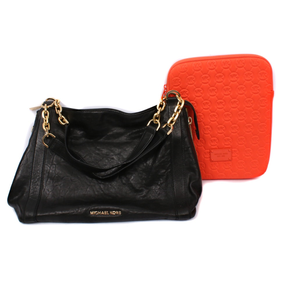 Michael Kors Black Leather Shoulder Bag and Monogrammed iPad Zip Pouch