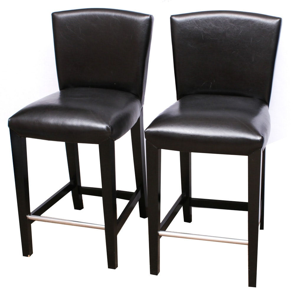 Contemporary Stone International Leather Upholstered Bar Chairs