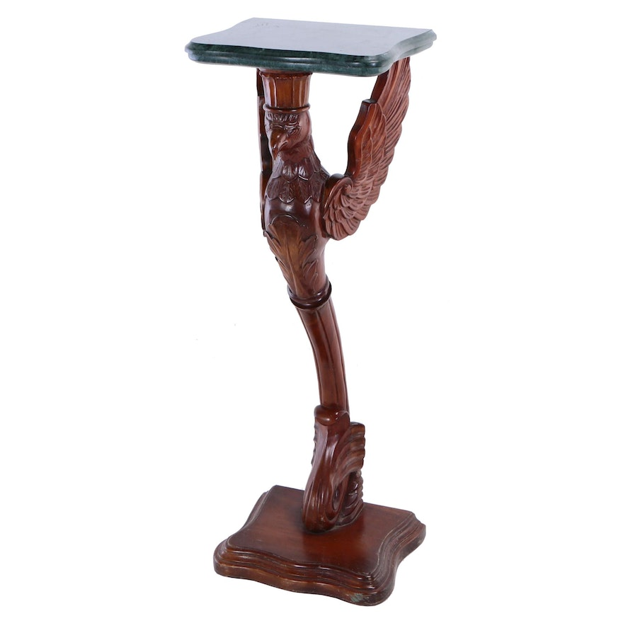 """Carved Mahogany and Green Marble """"Eagle"""" Pedestal"""