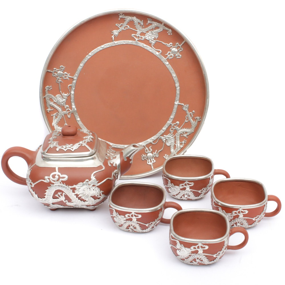 Chinese Metal-Clad Clay Yixing Style Tea Set, Late 20th Century