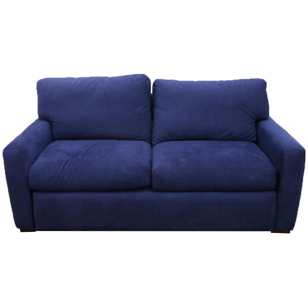 Contemporary Royal Blue Micro Suede Pullout Loveseat