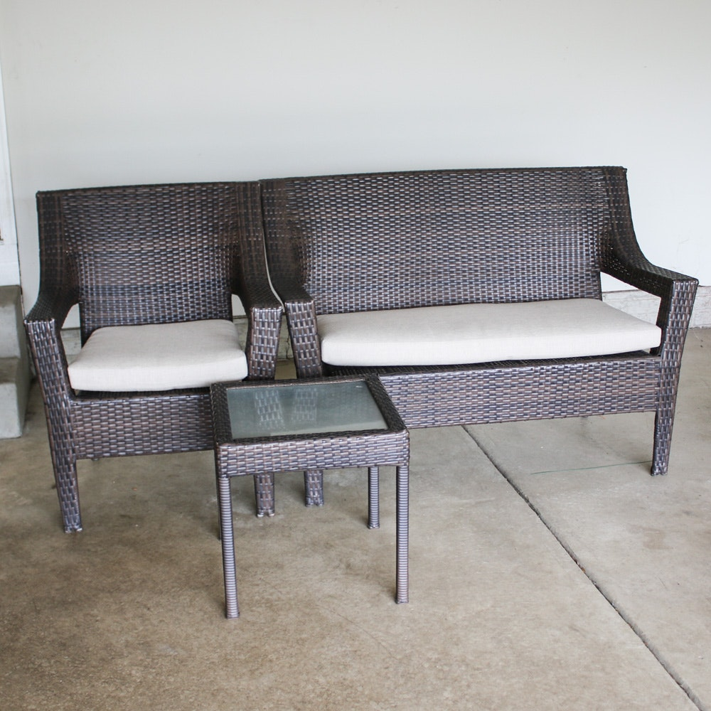 Patio Loveseat, Arm Chair and Side Table