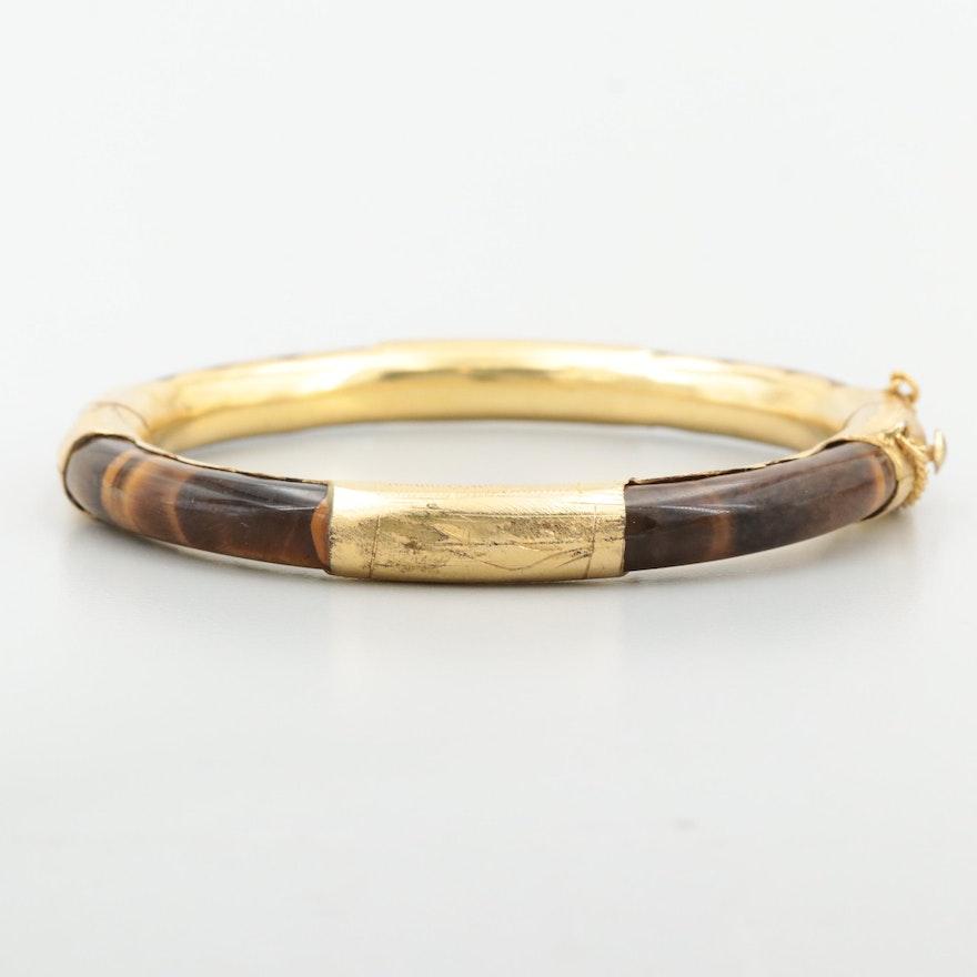 Gold Tone Tiger's Eye Hinged Bangle Bracelet