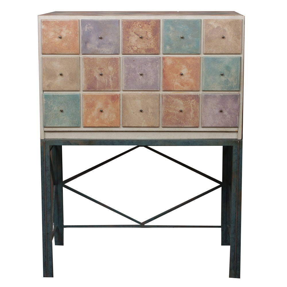 Painted Wood False-Front Cabinet on Metal Stand, Contemporary