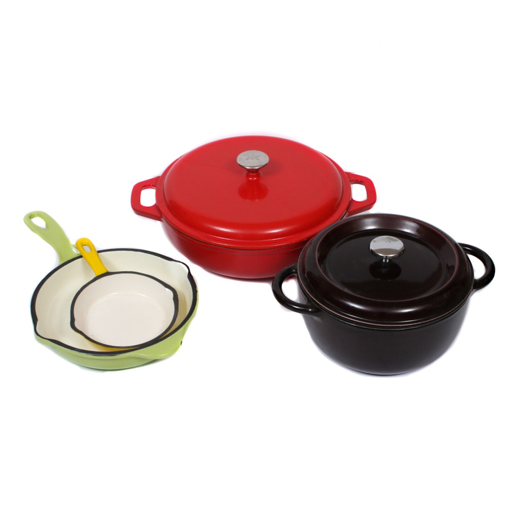 Enameled Cast Iron French Oven, Skillets, and Braiser