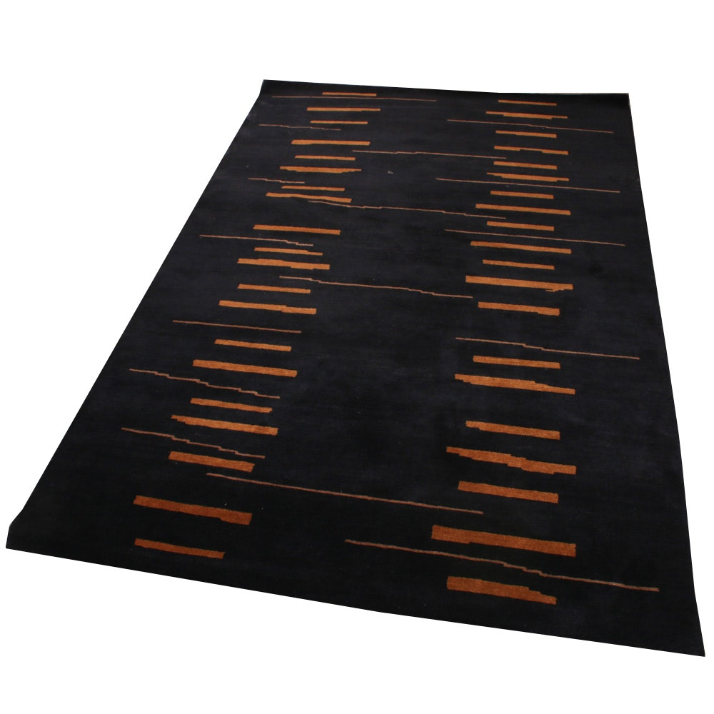 "Hand-Knotted Tiger Rug Company Nepalese ""Rain"" Wool Area Rug"