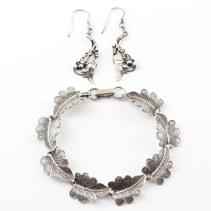 Sterling Silver Dangle Earrings and Leaf Bracelet