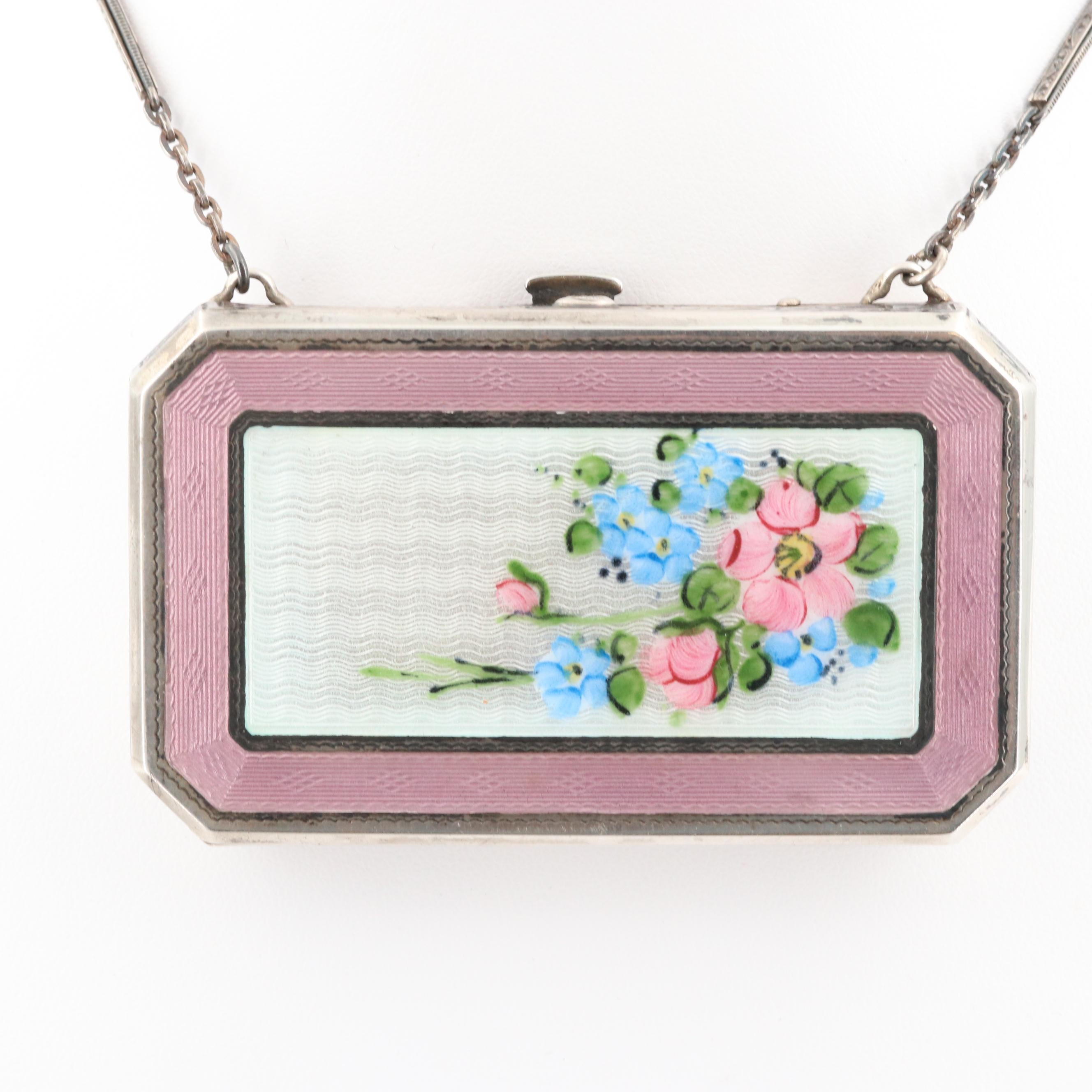 Elgin Sterling Silver Guilloche Enameled Compact Purse, Early 20th Century