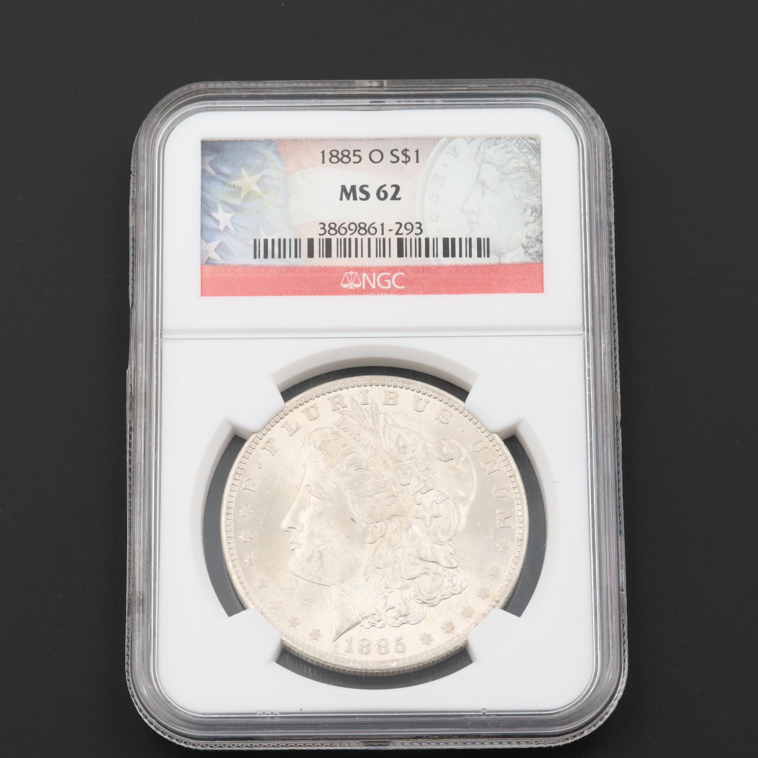 NGC Graded MS62 1885-O Morgan Silver Dollar
