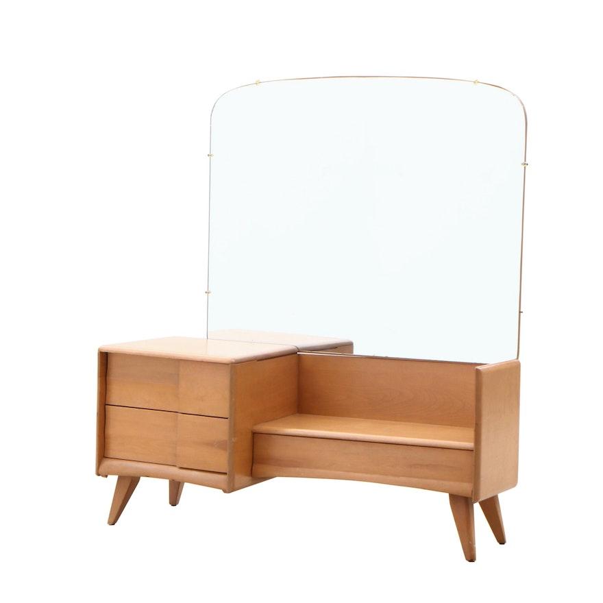 Mid Century Modern Heywood Wakefield Maple Vanity Table with Mirror