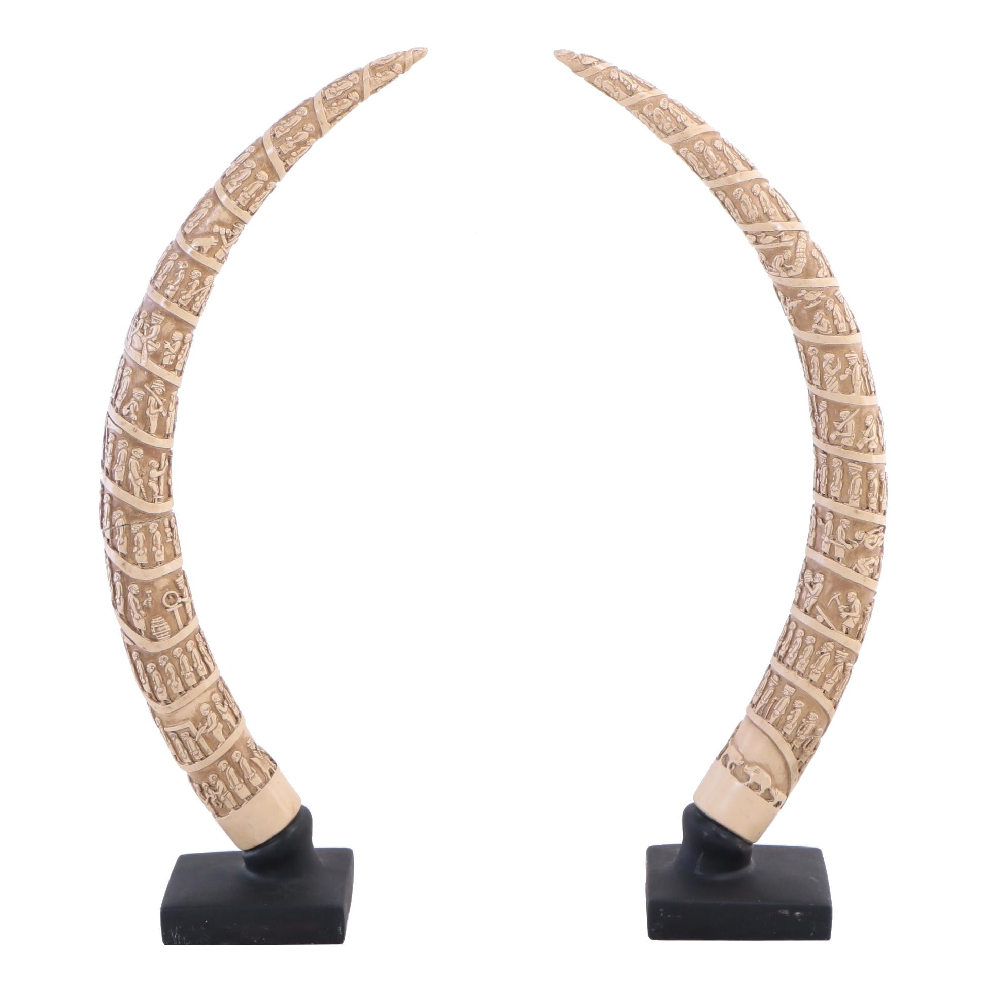Pair of Austin Productions Inc., Faux-Ivory Museum Replica Tusks