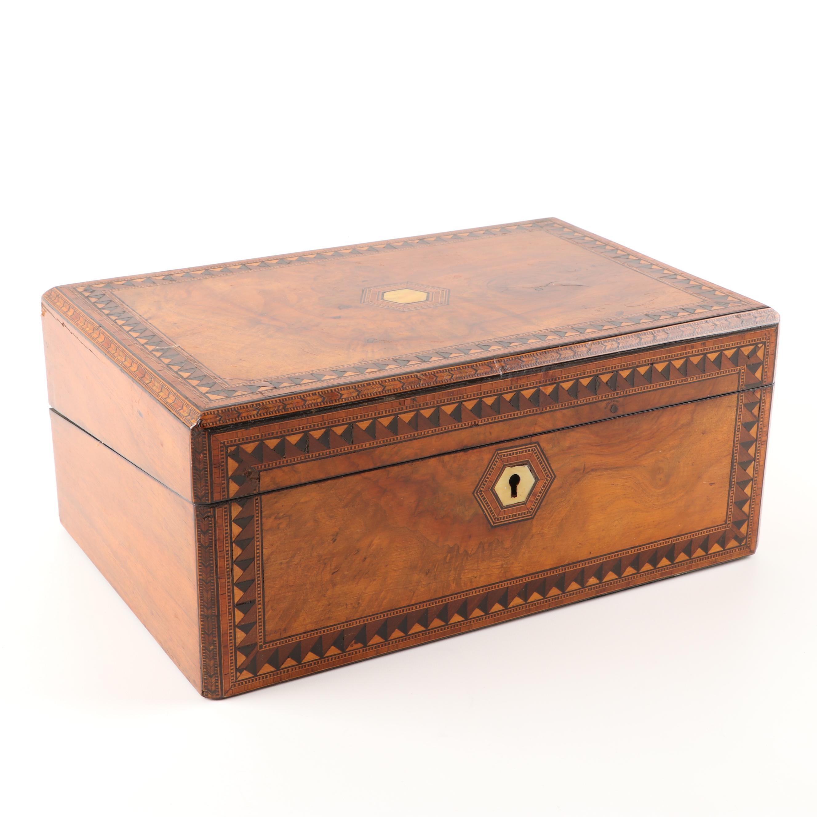 Burl Walnut Parquetry Inlay Document Box