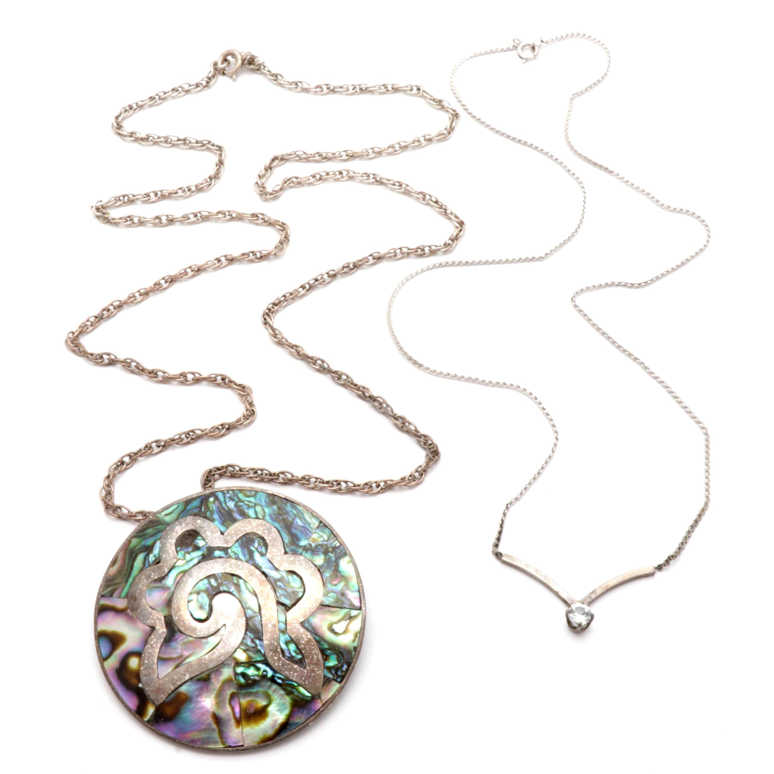 Sterling Silver Abalone Shell and Crystal Necklaces