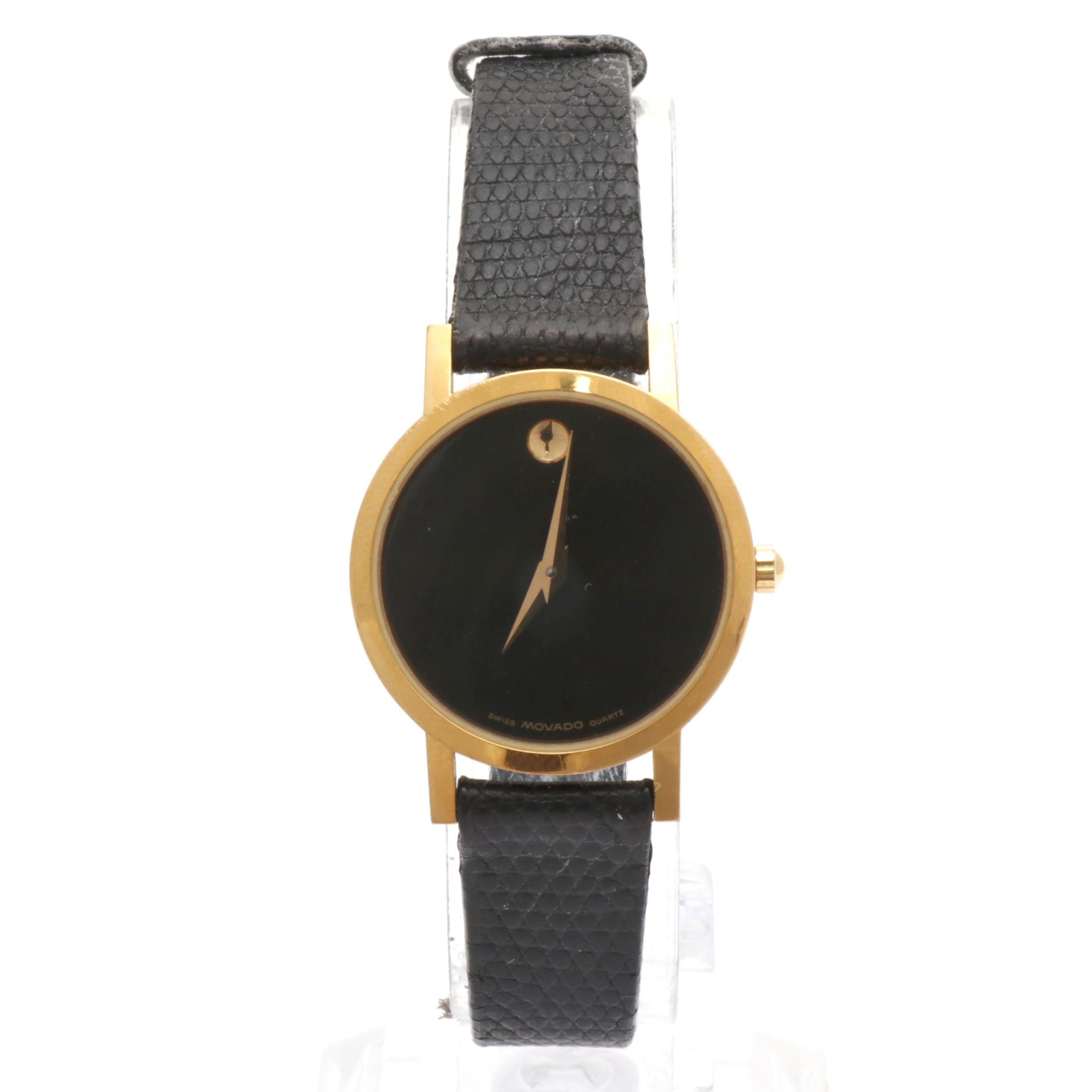 "Movado ""Museum Piece"" Gold Tone Wristwatch with Lizard Band"