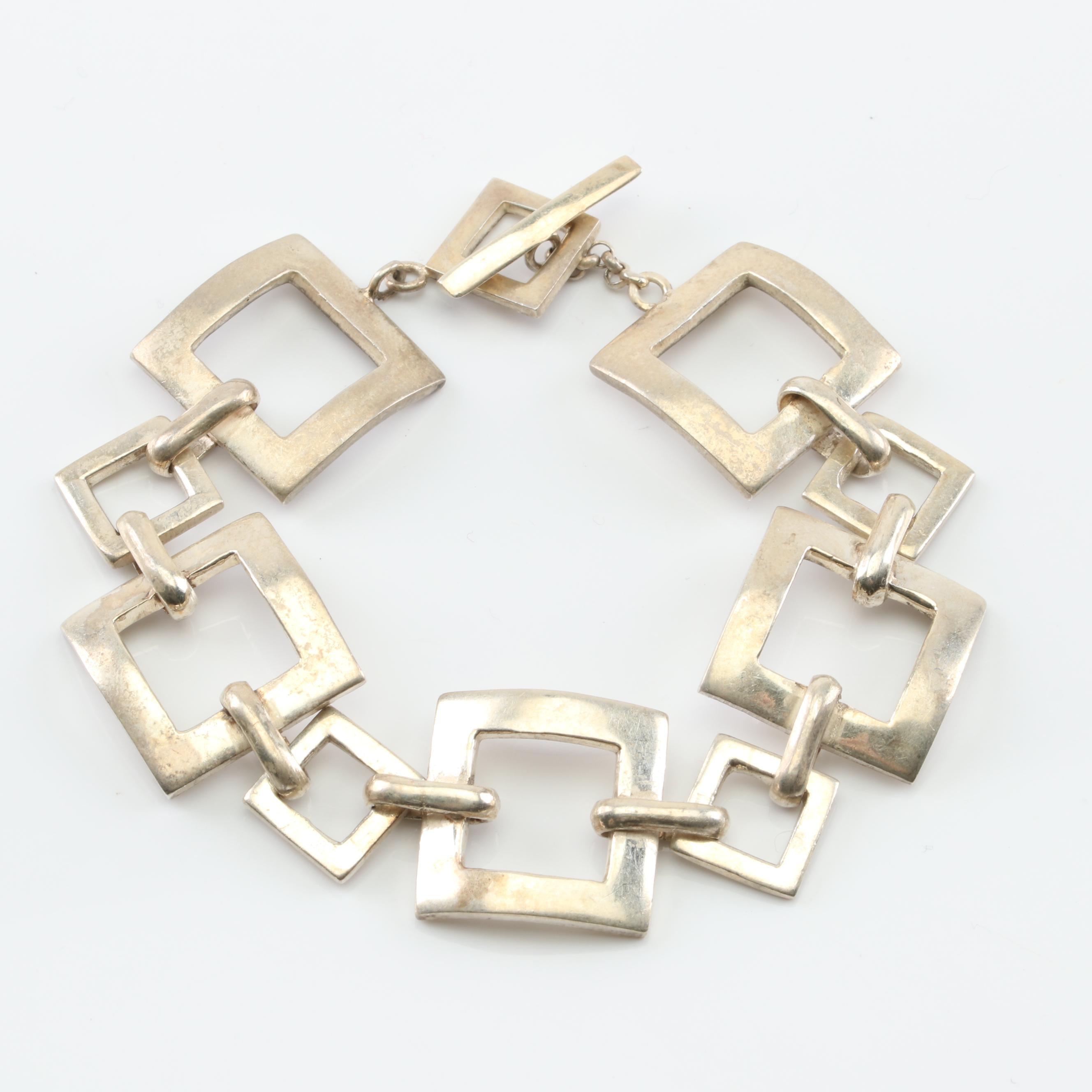 Sterling Silver Geometric Bracelet