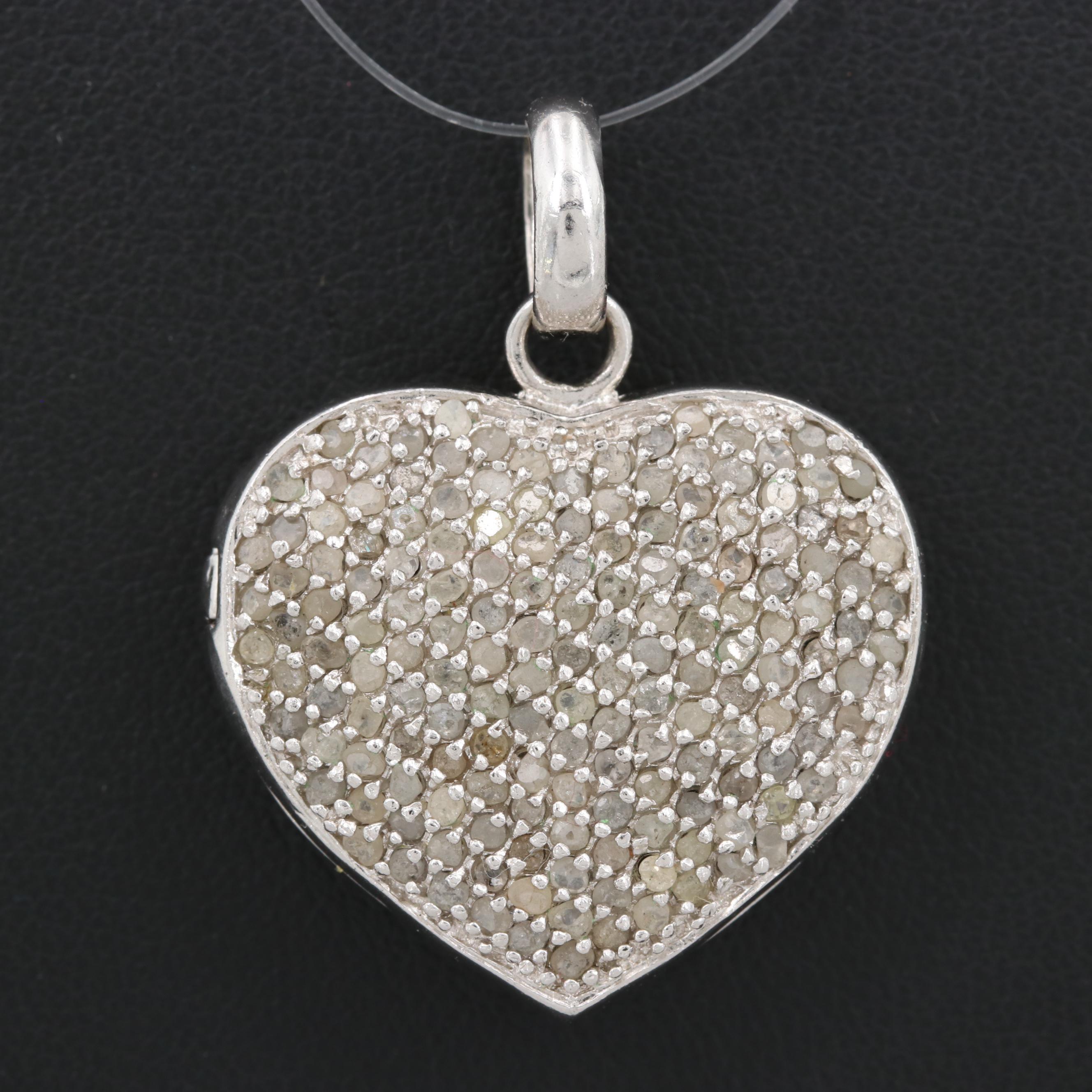 Sterling Silver Diamond Heart Locket Pendant