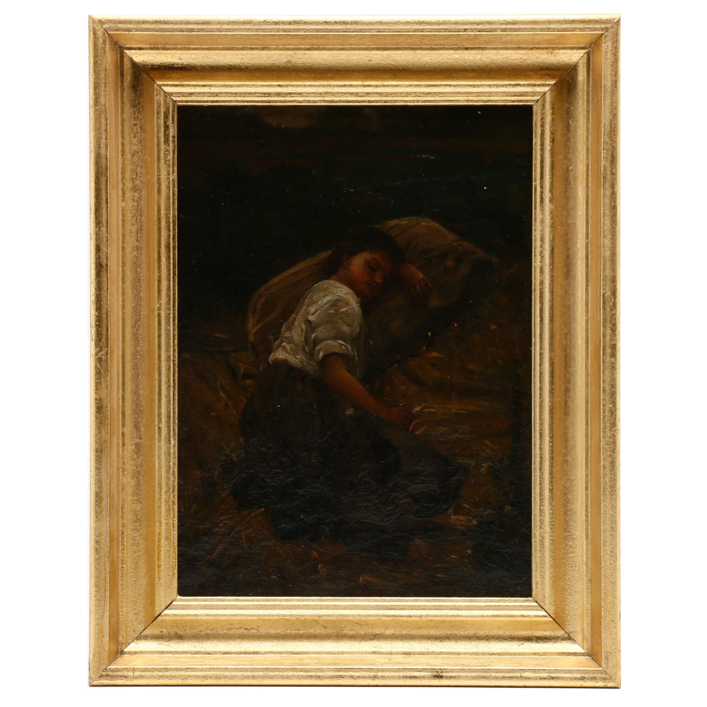 Oil Painting of Child Sleeping in Hay