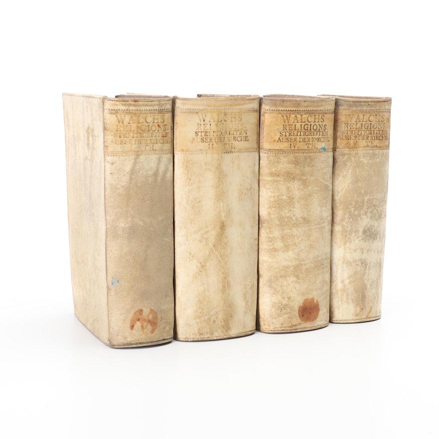 """Johann Georg Walchs """"Religions Streitigkeiten Aus Der Kirche"""" Vol. 1-4, 1730s"""
