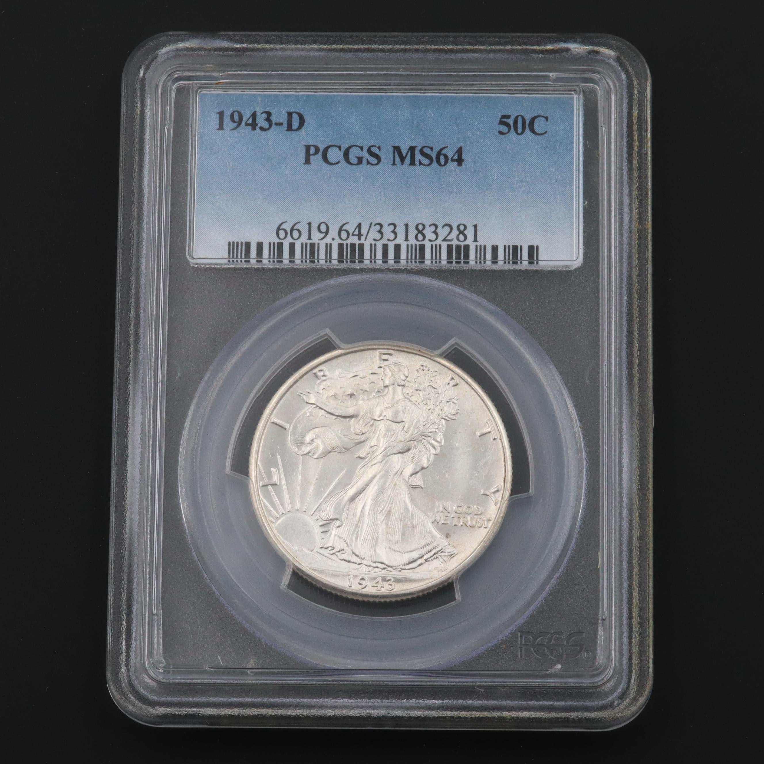PCGS Graded MS64 1943-D Walking Liberty Silver Half Dollar