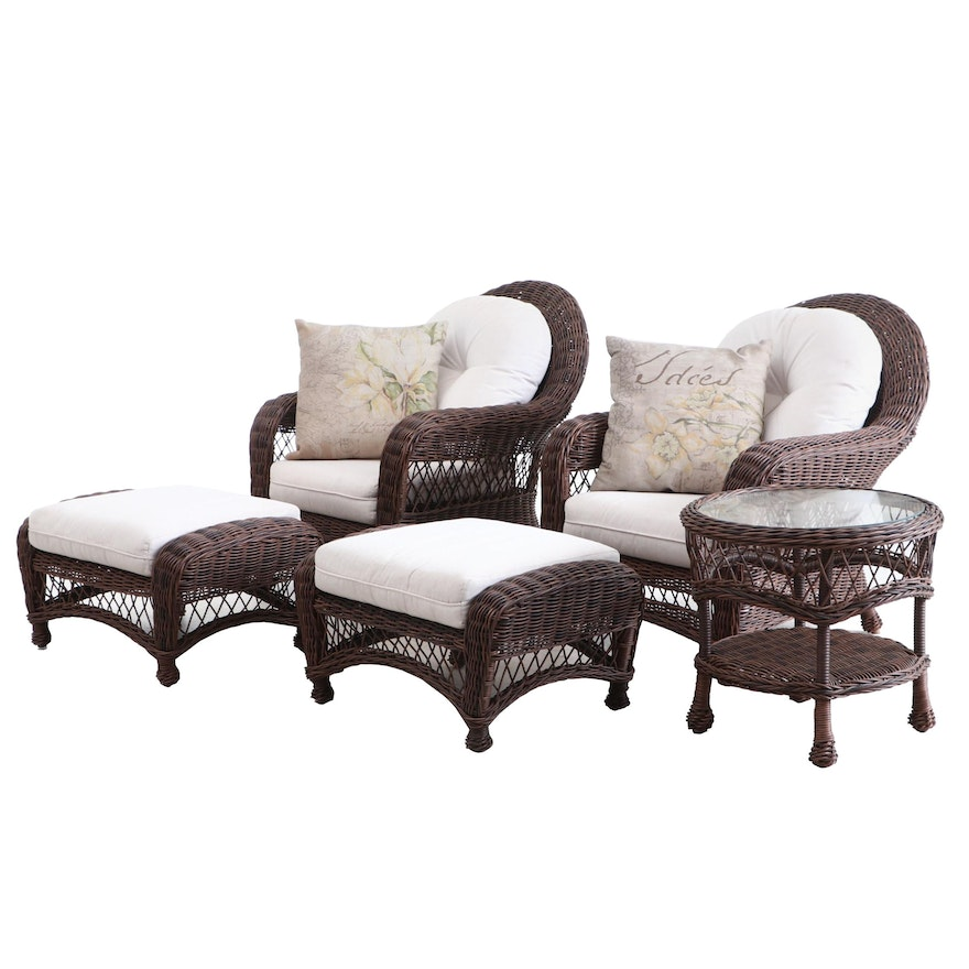Wicker Chairs with Ottomans and Table,  Contemporary