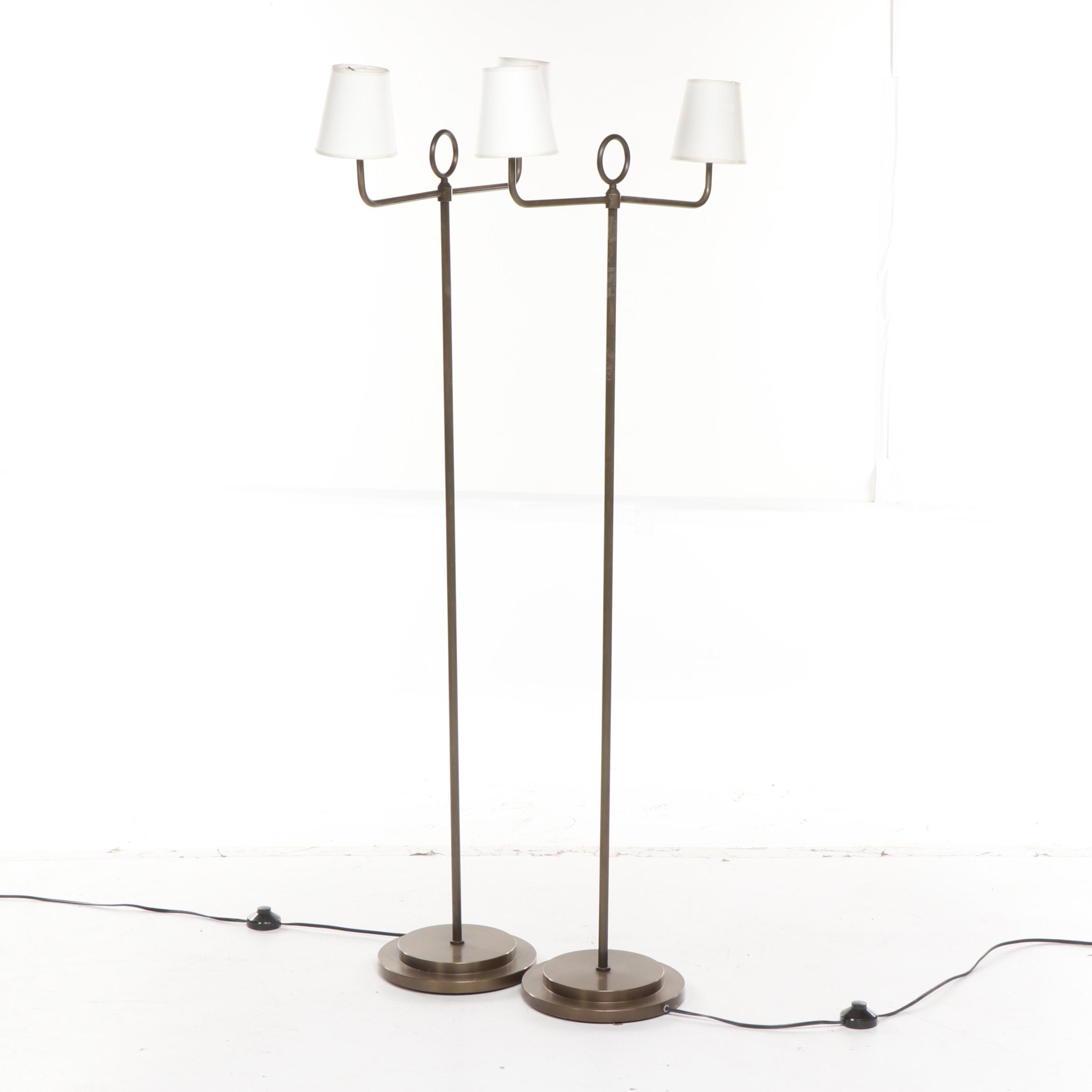Italian Metal Double Arm Floor Lamps, Contemporary
