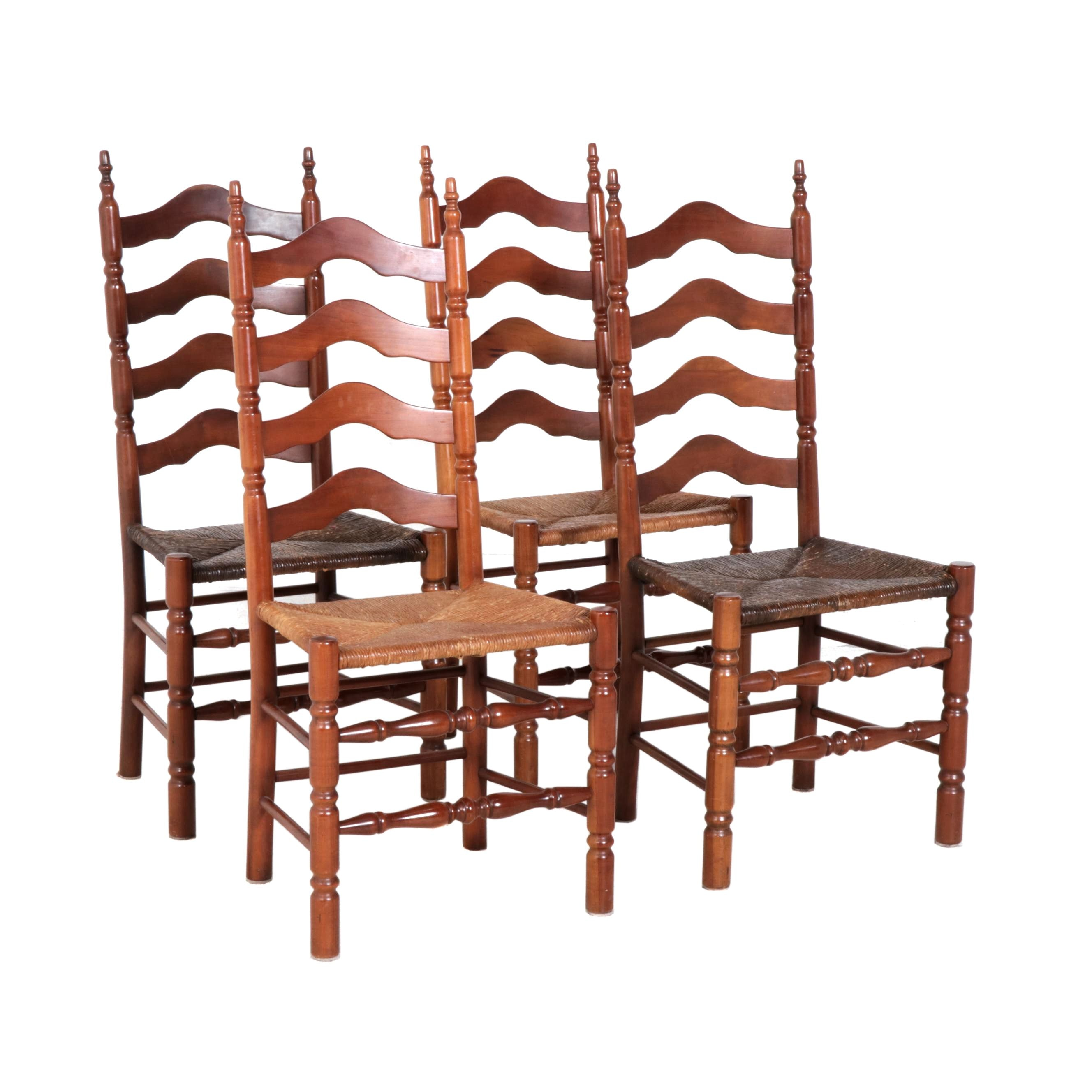 Ladderback Chairs with Rush Seats, Mid-Century