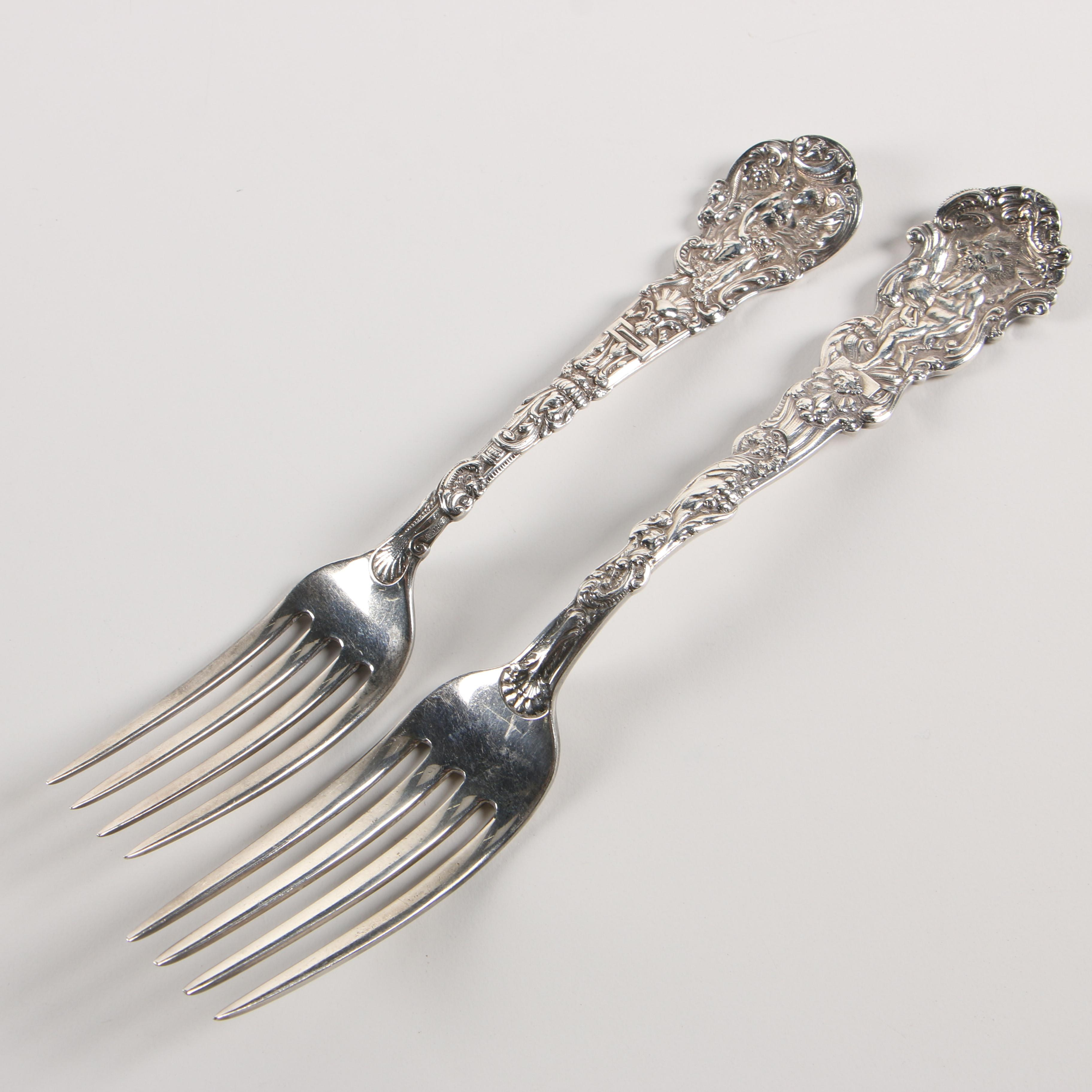 """Gorham """"Versailles"""" Sterling Silver Forks, Late 19th/Early 20th Century"""