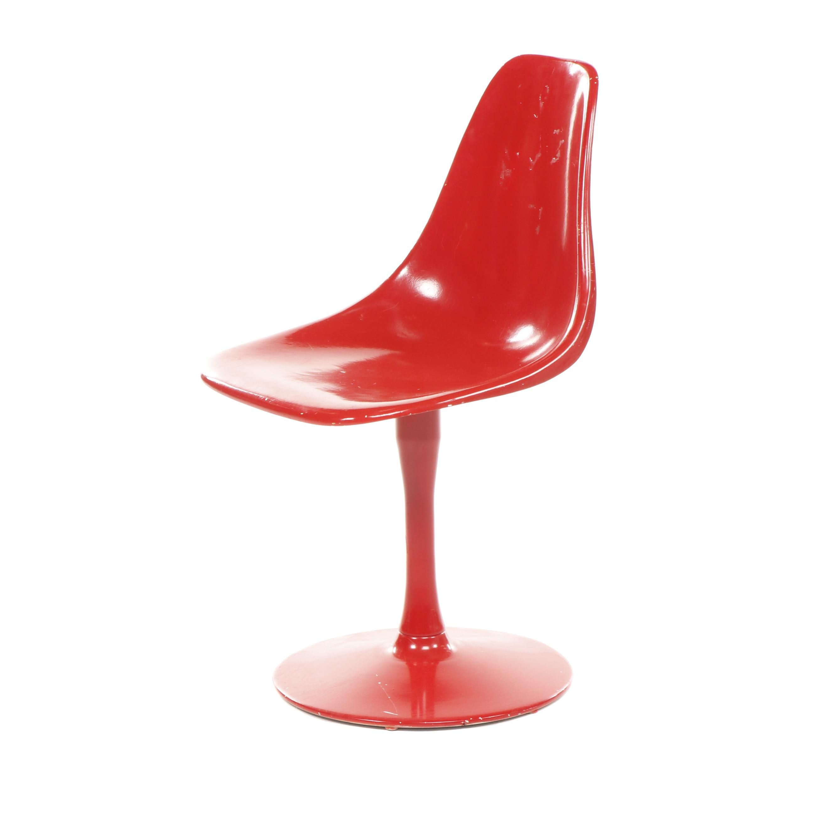 Mid Century Modern Red Fiberglass Tulip Style Side Chair