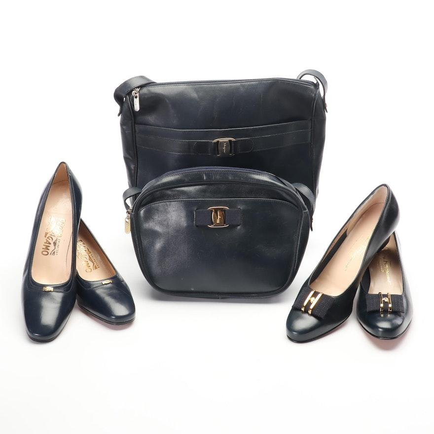 Salvatore Ferragamo Navy Leather Pumps and Shoulder Bags, Vintage
