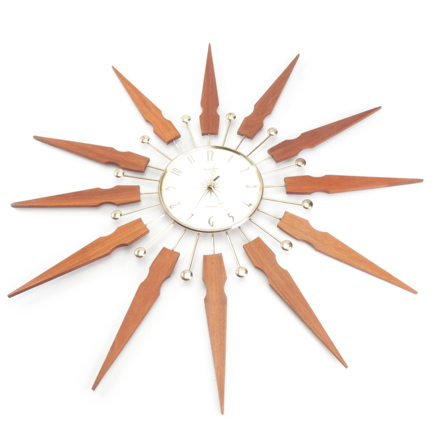 """Mid-Century Modern Converted Phinney Walker """"Transistor"""" Starburst Wall Clock"""