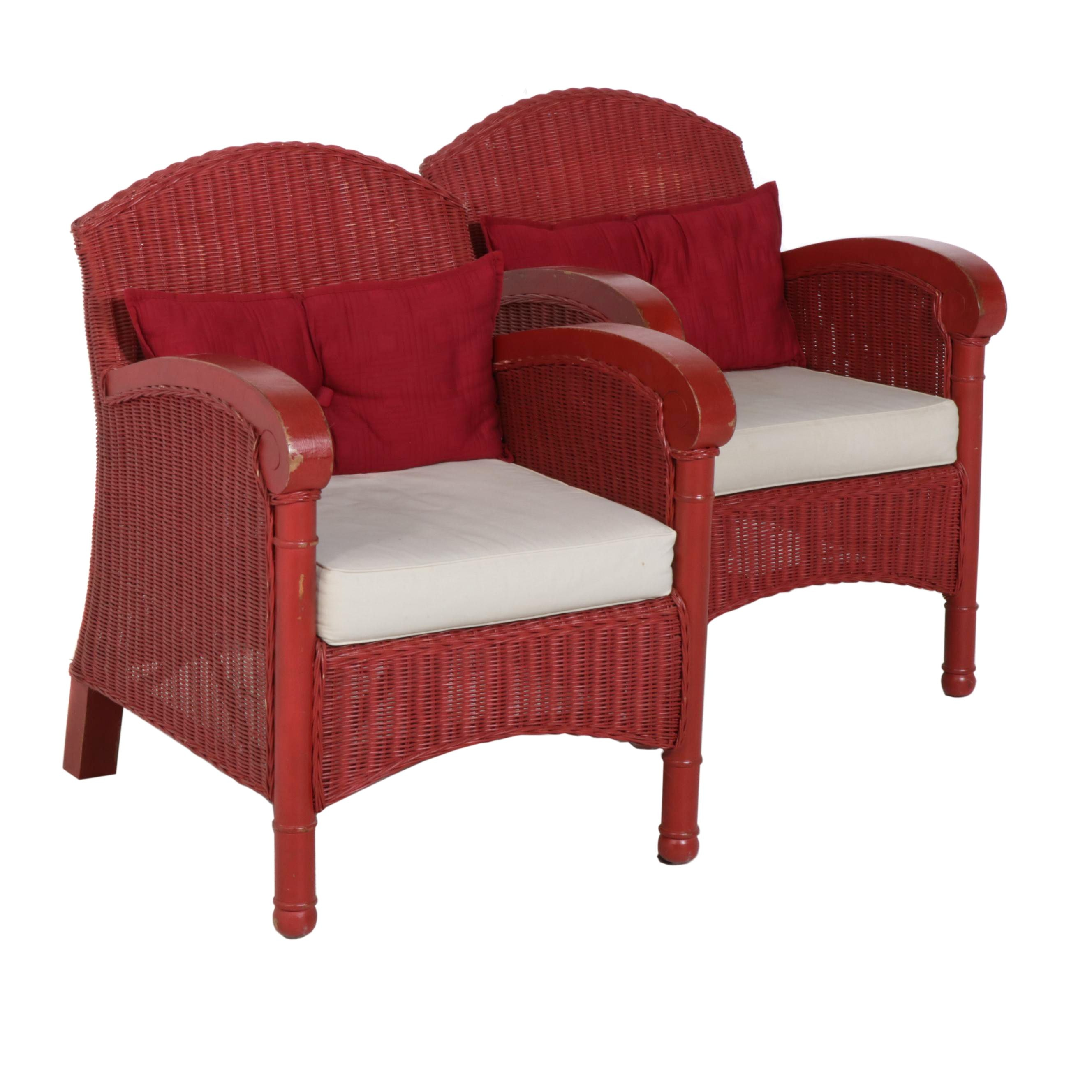 Contemporary Fieldcrest Painted Wicker Armchairs with Upholstered Cushions