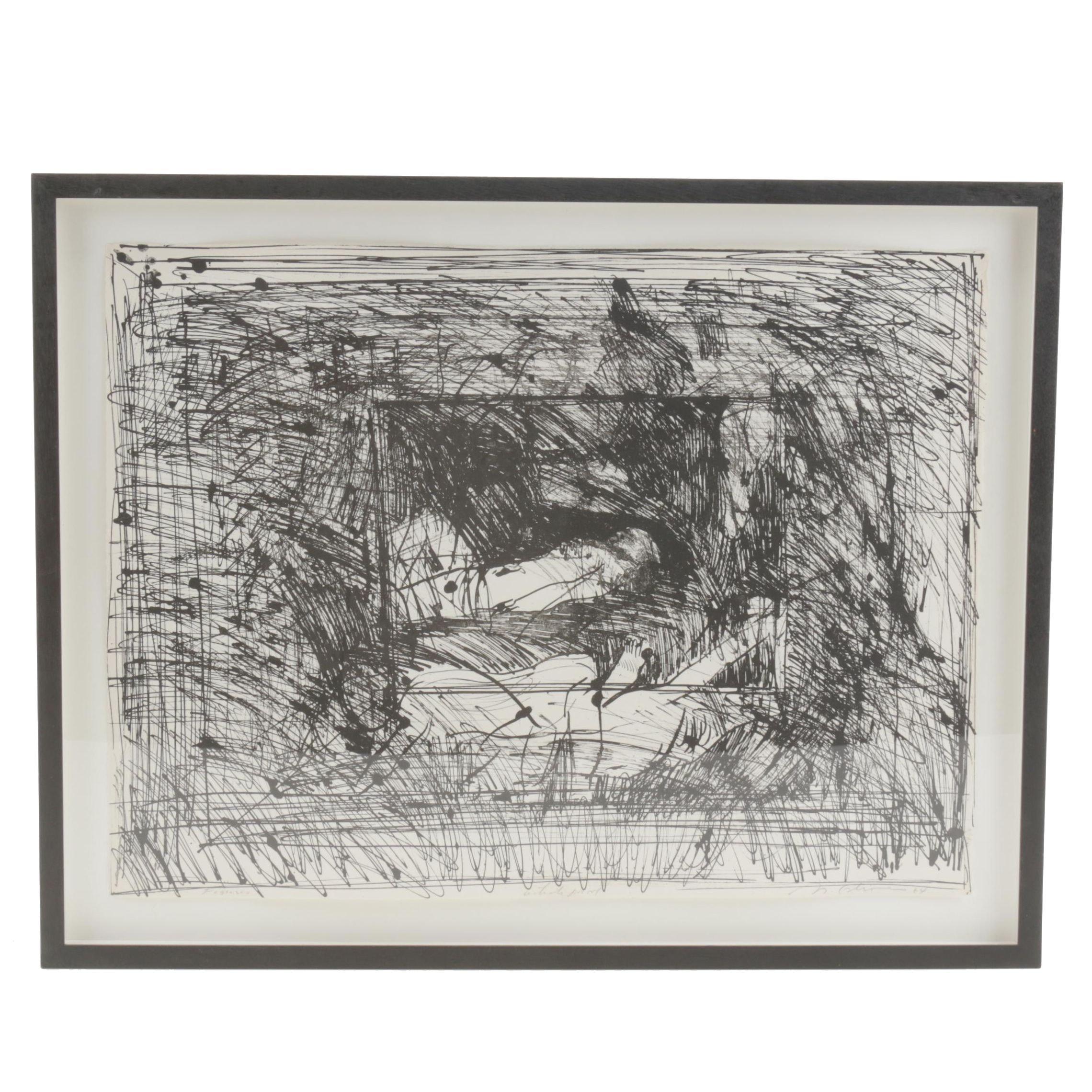 "Nathan Oliveira Lithograph ""Figures"""