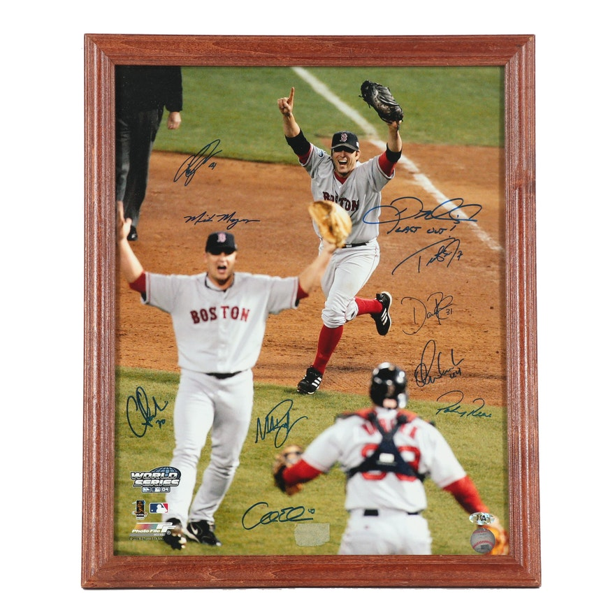 Boston Red Sox Autographed World Series 2004 Photo including Doug Mientkiewicz