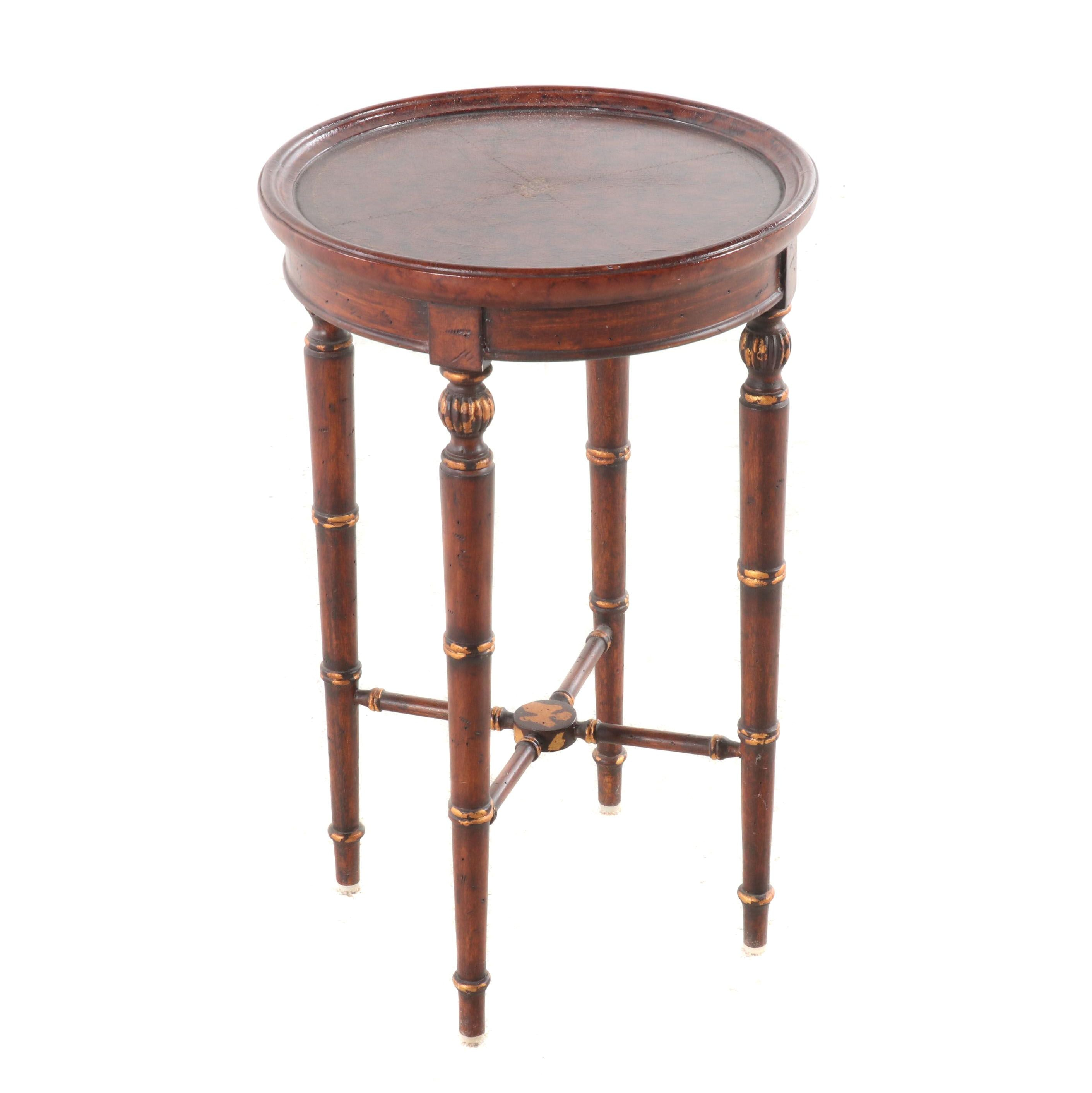 Contemporary Regency Style Painted Leather Top Wooden Side Table