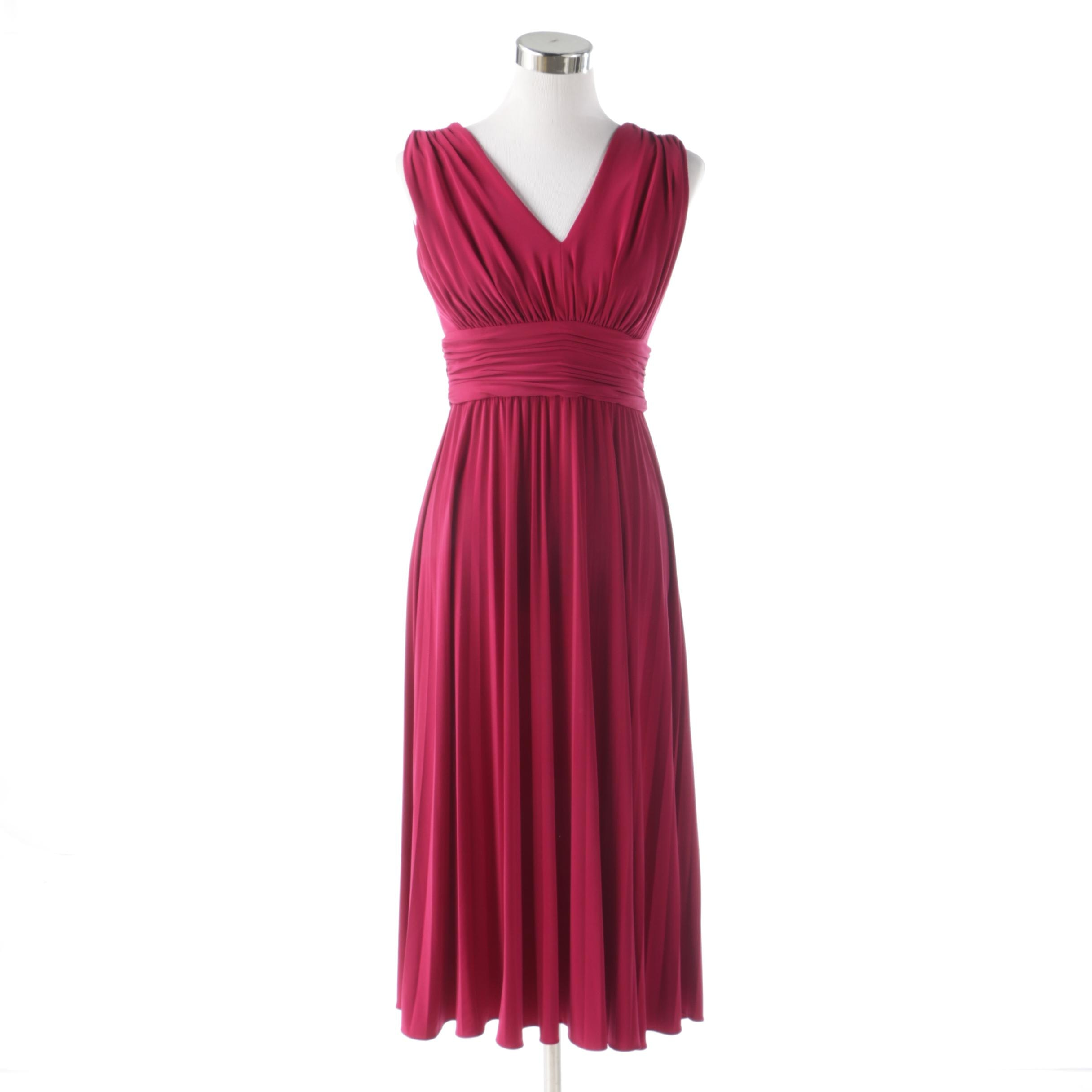 Suzi Chin for Maggy Boutique Magenta Sleeveless Cocktail Dress with Ruching