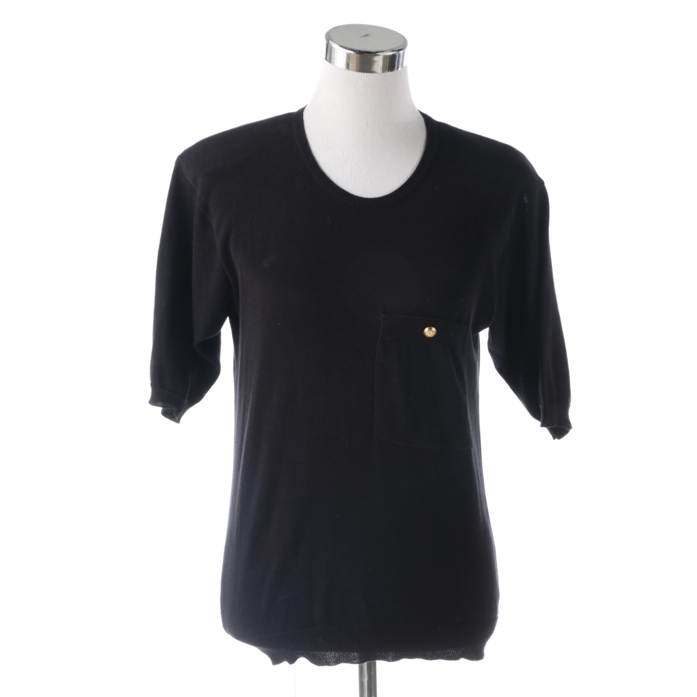 Chanel Black Cotton Knit Sweater, Vintage