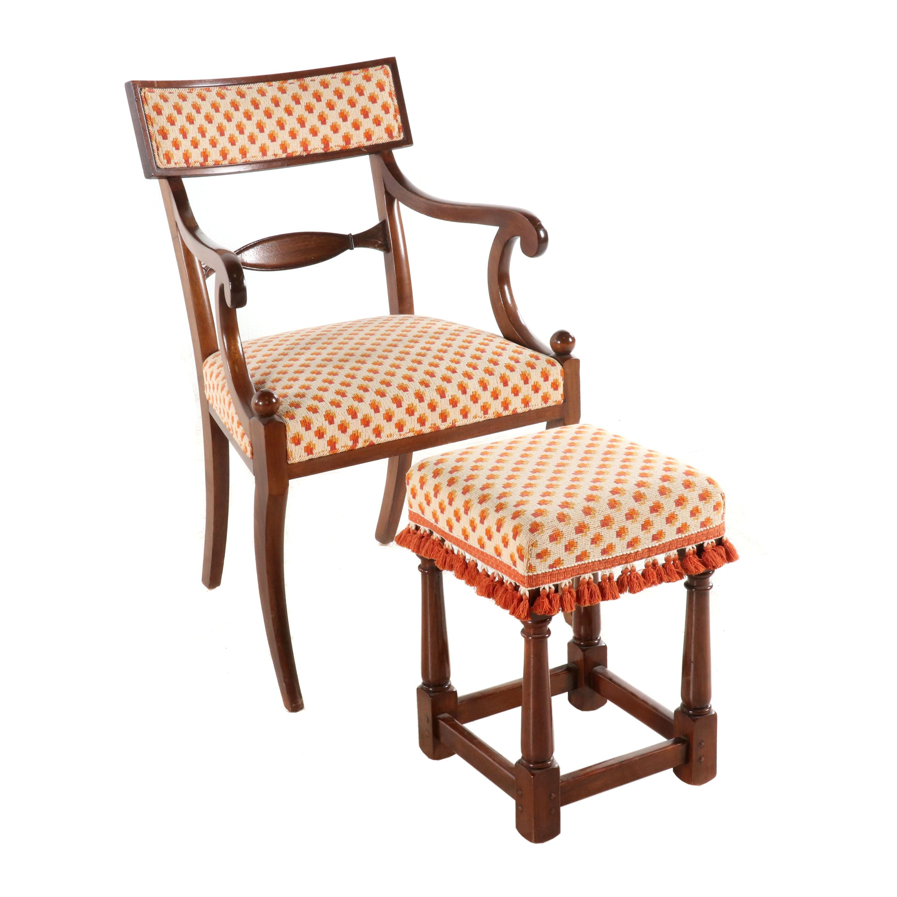 Regency Style Wood and Upholstered Armchair with Ottoman, Mid to Late 20th C.