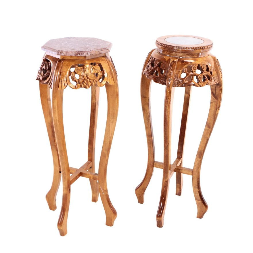 Two Contemporary Chinese Style Carved Wood and Marble-Topped Plant Stands