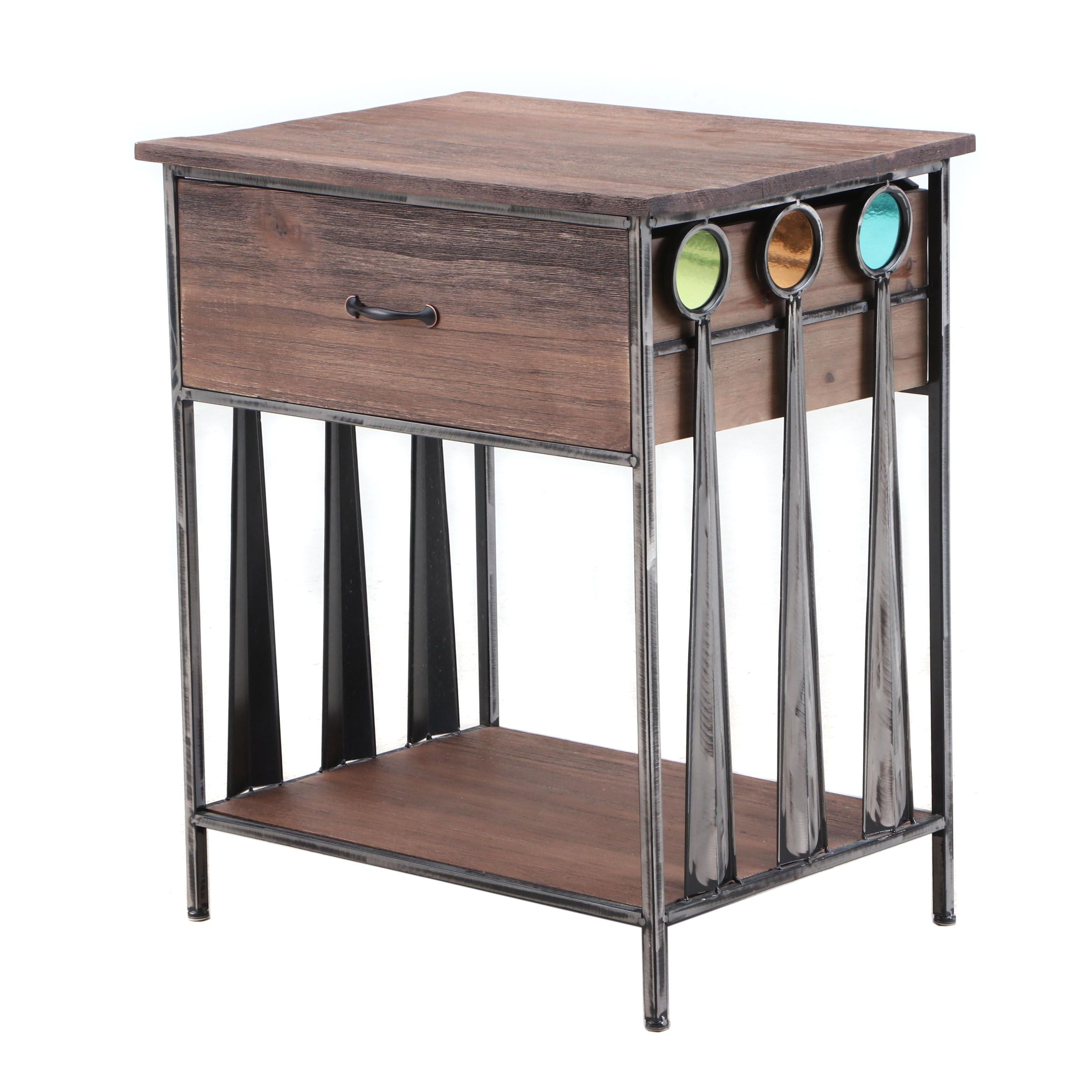 Contemporary Distressed Wood Accent Table