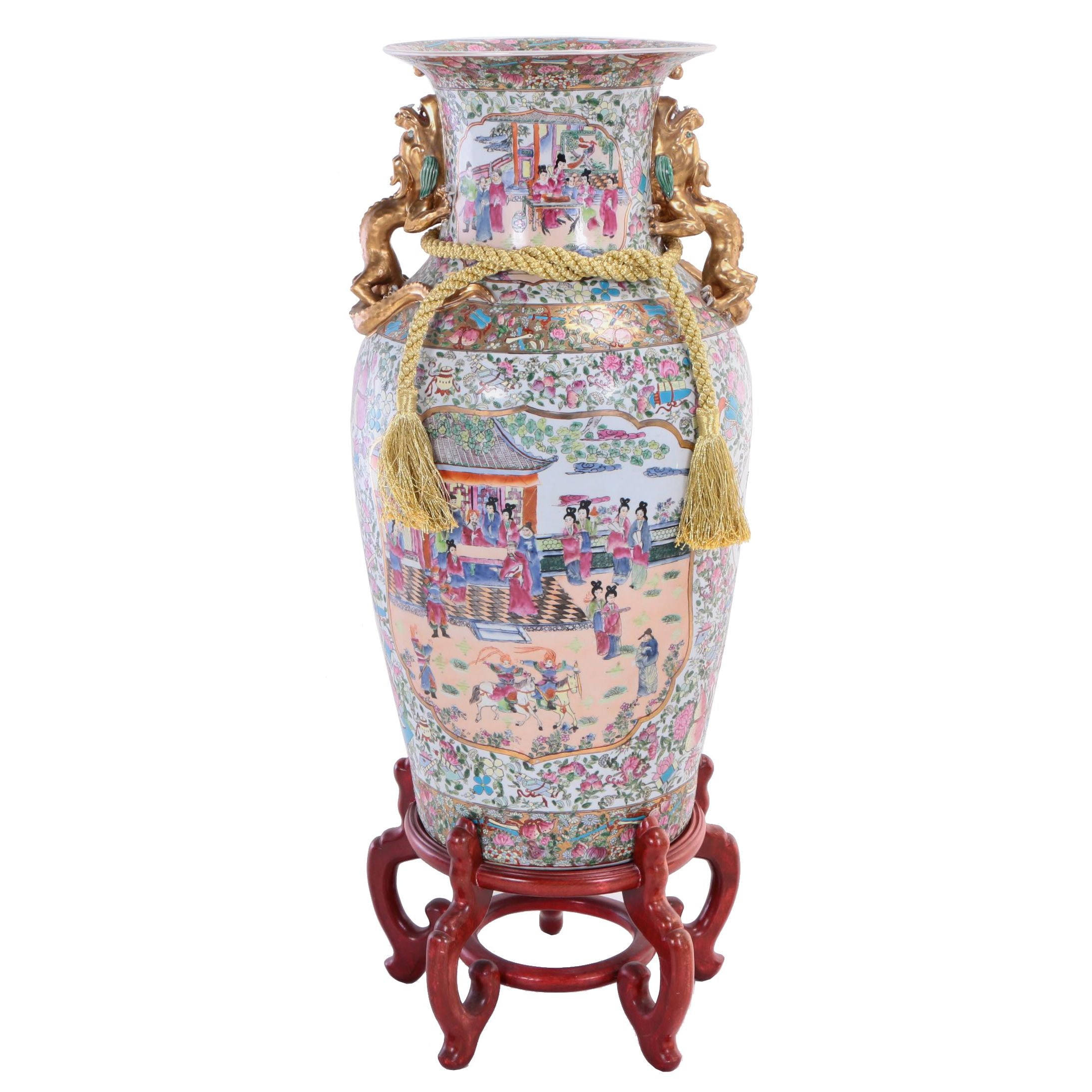 Chinese Parcel-Gilt and Enameled Ceramic Palace Vase with Wooden Stand