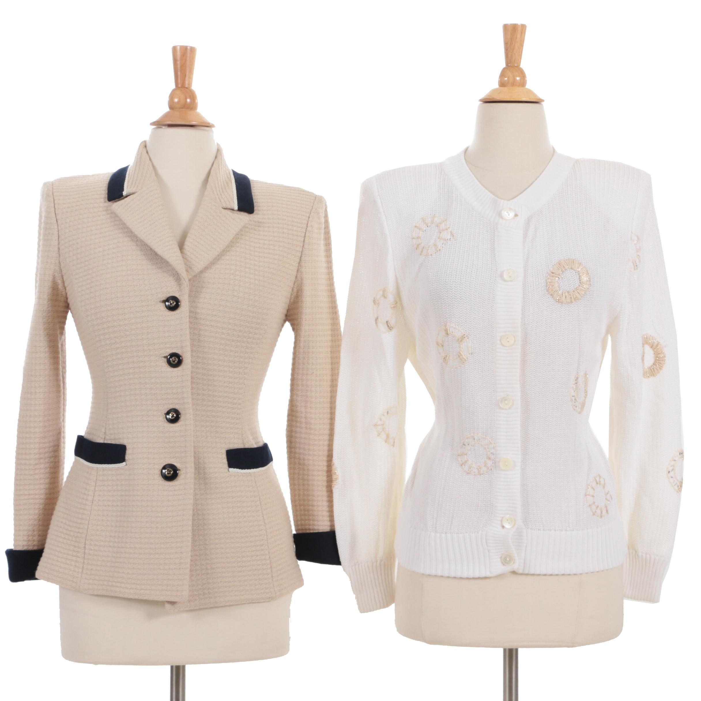 Gucci Embellished Knit Cotton Cardigan and St. John Collection Knit Jacket